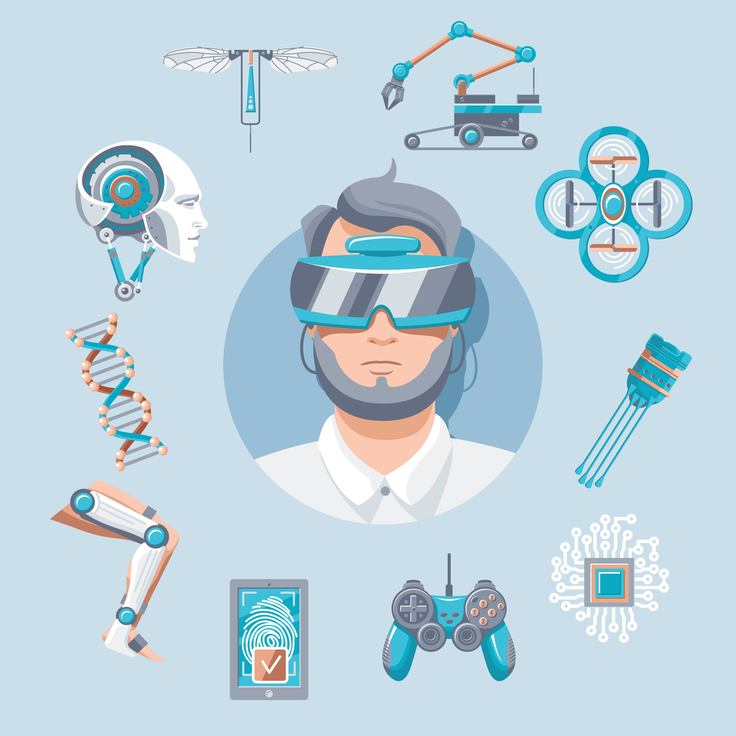 Technology icons set with virtual glasses robotic arm drone quadcopter joystick mobile security artificial elements vector illustration
